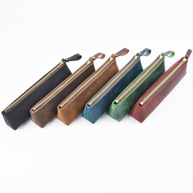 Prawdziwej skóry zamek piórnik ołówek torba duża pojemność rocznika szalony koń skóry ręcznie kreatywny akcesoria szkolne