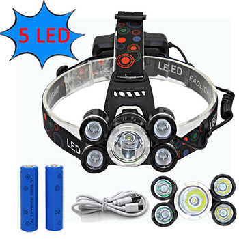 Headlamp 5 LED Headlight T6 Q5 LED Lanterna USB Rechargeable Head Lamp Hunting Fishing Torch Light - DISCOUNT ITEM  41 OFF Lights & Lighting