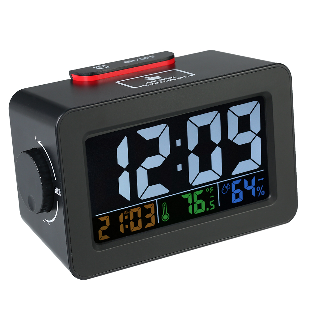 LCD Digital Thermometer Hygrometer Clock Household Temperature Humidity Meter Alarm Clock Snooze Backlight Color Screen Display