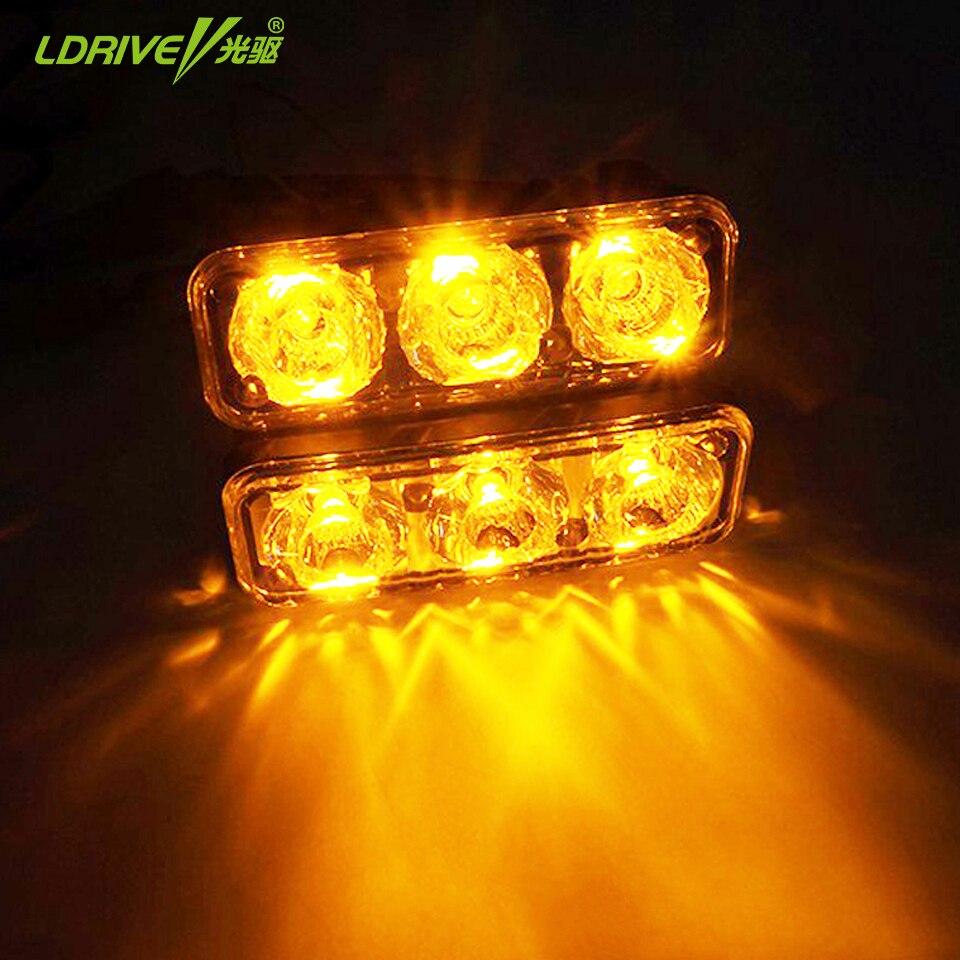 2*3 LED Универсальный Водонепроницаемый 12V авто лампы высокой мощности автомобилей дневного света DRL с противотуманные фары лампы дневного света