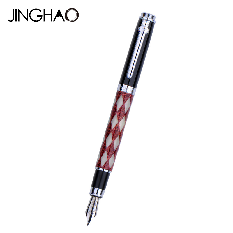 Red-White Plaid Silver Clip Fountain Pen DUKE Great Quality 0.5mm Iraurita Nib Ink Pens Writing Stationery with an Original Box