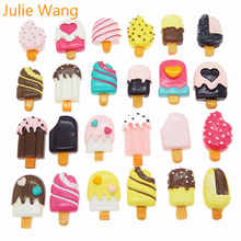 Julie Wang 20PCS Resin Ice Cream Slime Cabochons Randomly Mix Charms Jewelry Making Necklace Bracelet Accessory Home Phone Decor(China)