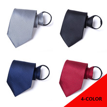 Men Necktie 9cm Lazy Business Tie with Coarse-grain Pure Salad Zipper Neckcloth Neckwear Slim Gravata Clothing Accessorie