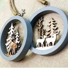 Санта-Клаус, олень, новогодняя натуральная Деревянная Рождественская елка, украшения, Подвесные Подарки, Рождественский Декор для дома, вечерние украшения
