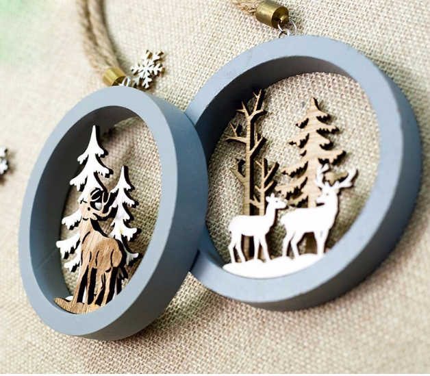 Santa Claus Deer New Year Natural Wood Christmas Tree Ornaments Pendant Hanging Gifts Xmas Decor for Home Party Decorations 2020