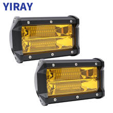 YIRAY 5 Inch 72W 2Pcs Yellow LED Work Light for motorcycle Driving Offroad Boat Car Tractor Truck 4x4 SUV ATV 12V 24V Bar