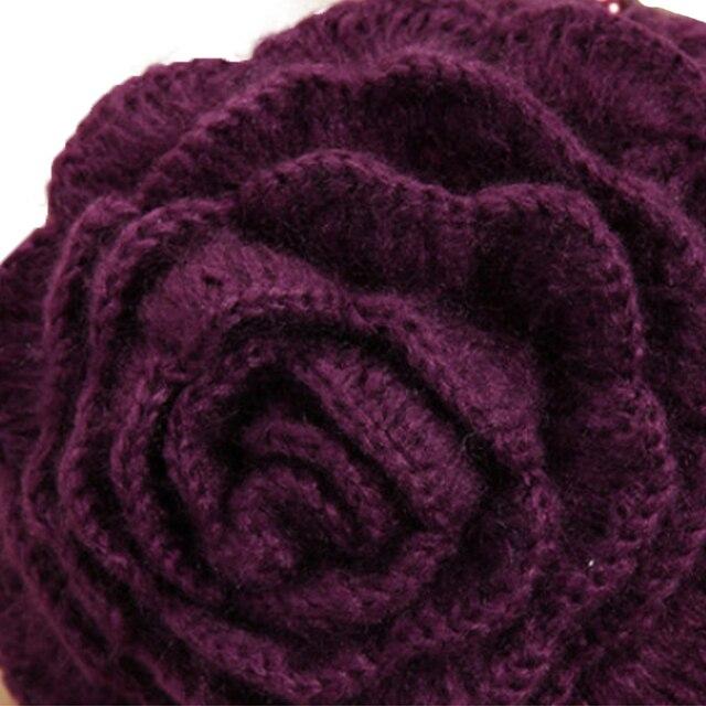 Winter Wool Beanies Purple Flowers Women 2018 4