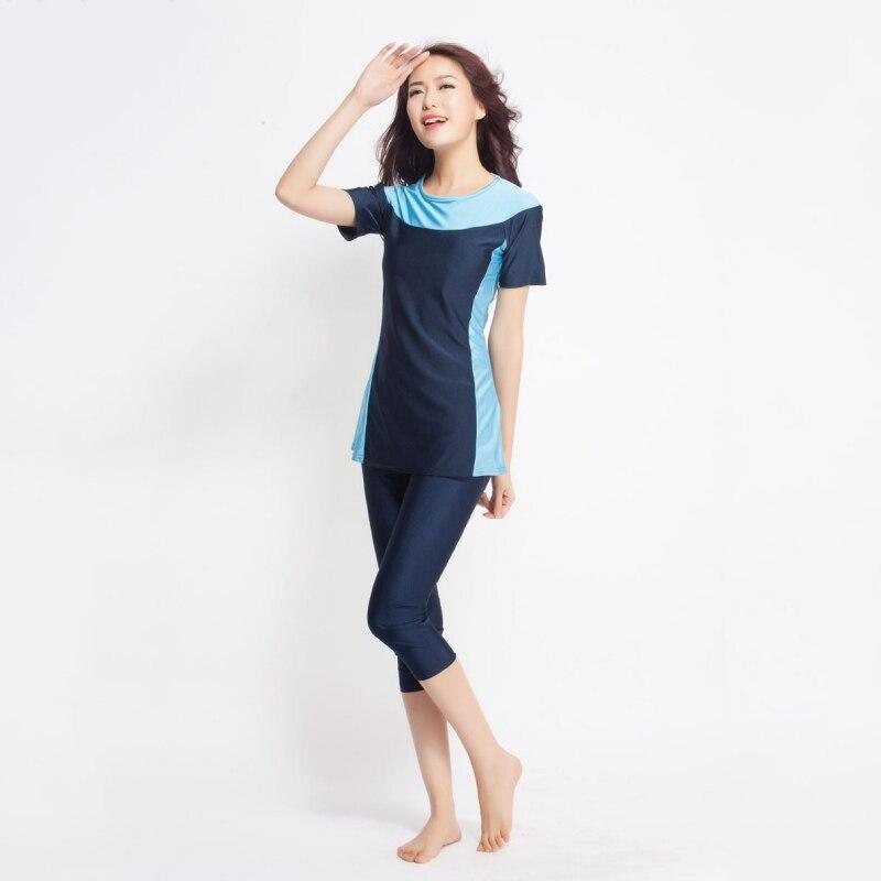 4410a64546471 2 Pcs Trendy Women Modest Swimwear Islamic Short Sleeve Tankini Swimming  Muslim Swimsuit Women Accessories-in Bikinis Set from Sports & Entertainment  on ...