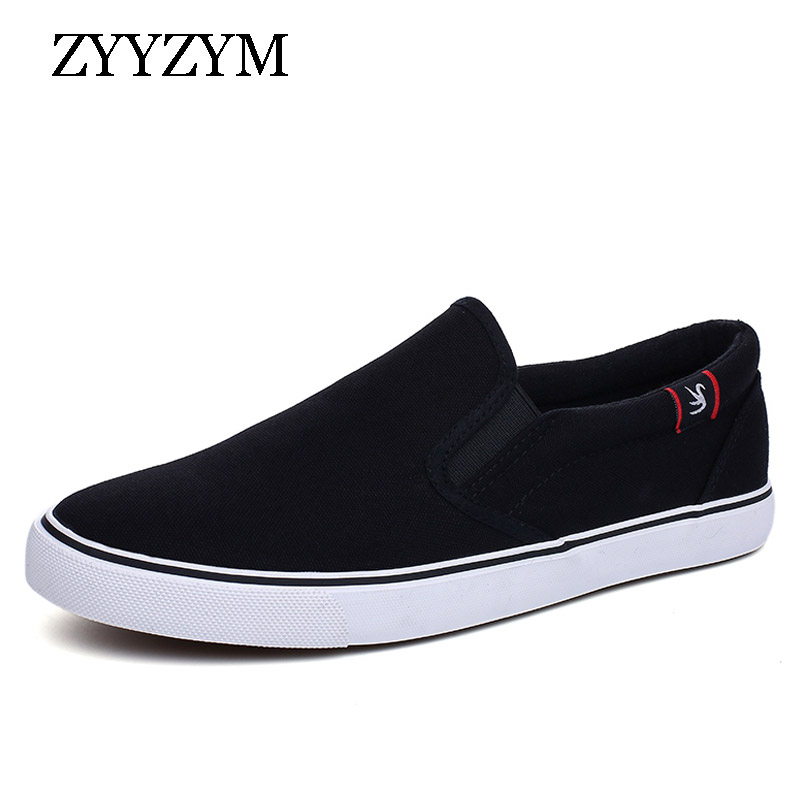 ZYYZYM Shoes Men Canvas Shoes Spring Summer Slip On Style Breathable Fashion Sneakers light Youth Men Vulcanized Shoes Black