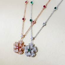 SLJELY Настоящее 925 пробы серебро циркон цветок кулон ожерелье с зеленым/красным CZ для женщин вечерние изысканные роскошные брендовые ювелирные изделия