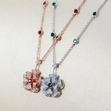 SLJELY אמיתי 925 כסף סטרלינג זירקון פרח תליון שרשרת עם ירוק/אדום CZ לנשים המפלגה מעודן יוקרה מותג תכשיטים