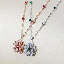 Sljely Real 925 Sterling Zilver Zirkoon Bloem Hanger Ketting Met Groen/Rood Cz Voor Vrouwen Party Prachtige Luxe Merk sieraden