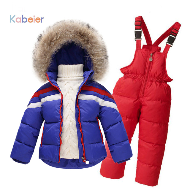 3c6443e15 Children Winter Clothing set Boys Ski Suit Girl Down Jacket Coat + ...