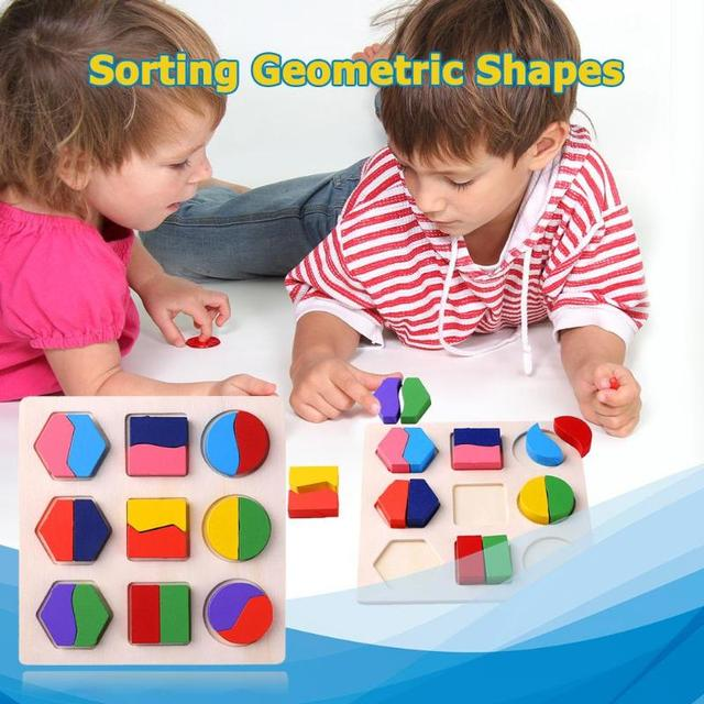 Wooden Geometric Shapes Montessori Puzzle Sorting Math Bricks Preschool Learning Educational Game Baby Toddler Toys for Children 2
