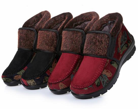 Chaussures Haute Personnes top Chaud Épais slip À Coton Âgées Hiver Style Épaisses Semelles 2017 Non En Maman Tissu Femmes C5qSnwfgx