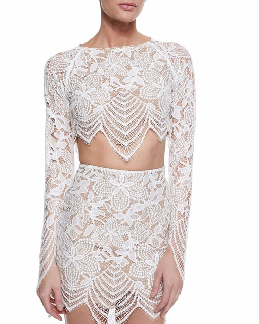 Summer Style New Lace Graphic Tees Short Shirt Cotton Women Casual Clothing Long Sleeve White Lace Party Sexy Crop Tops