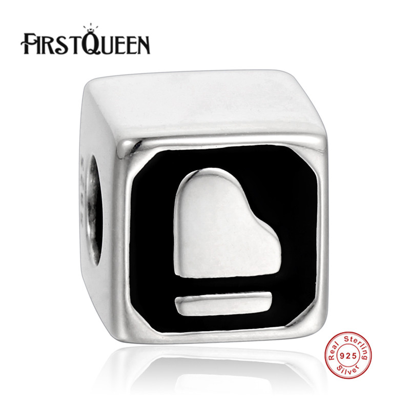 FirstQueen Original Love Bead Charm Fit Bracelet 925 Sterling Silver Bead Black Enamel Beads Jewelry Making Berloque