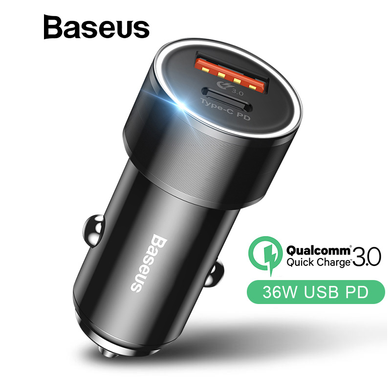 Baseus Dual USB Car Charger Telefone USB para iPhone Tipo C PD Quick Charge 3.0 QC3.0 Carregador de Carro Para Samsung s9 Xiaomi Carro-Carregador