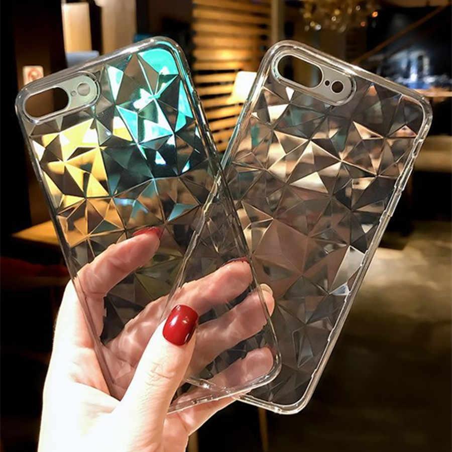Fashion Diamond Tekstur Case untuk iPhone X XS Case Transparan/Iphone X Max XR 7 8 Penutup Silikon Mewah lembut Ponsel Kembali Kasus
