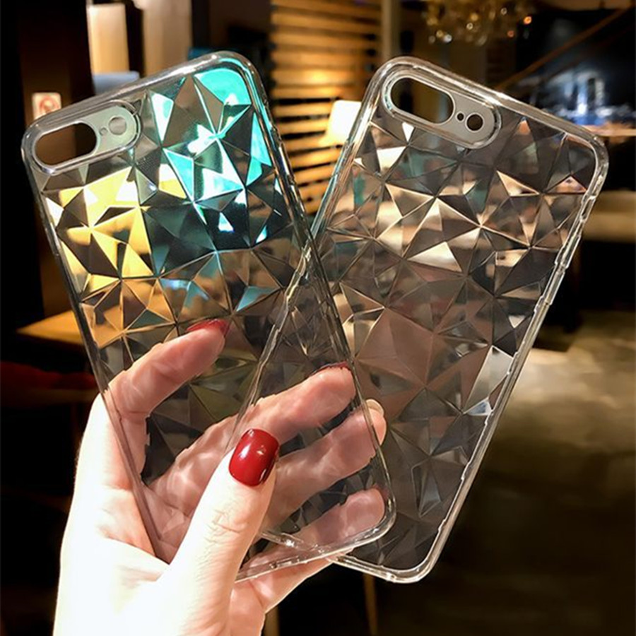 promo code 45e22 1caf3 Fashion Diamond Texture Case For iPhone X Xs Case Transparent / iPhone Xs  Max XR 7 8 Cover Silicone Luxury Soft Phone Back Cases
