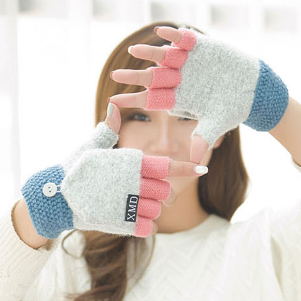 Fashion Clamshell Acrylic Winter Gloves Womens