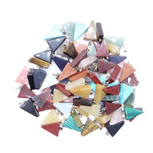 Фотография Wholesale Mixed Color 50Pcs/lot Natural Gem Stone Onyx Triangle Charms Necklaces Pendants Jewelry Suspension Pendulums Making