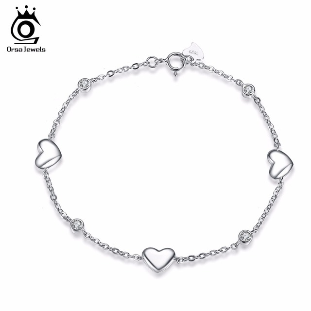Sterling Silver Bracelet with 3 Pieces Heart Charm