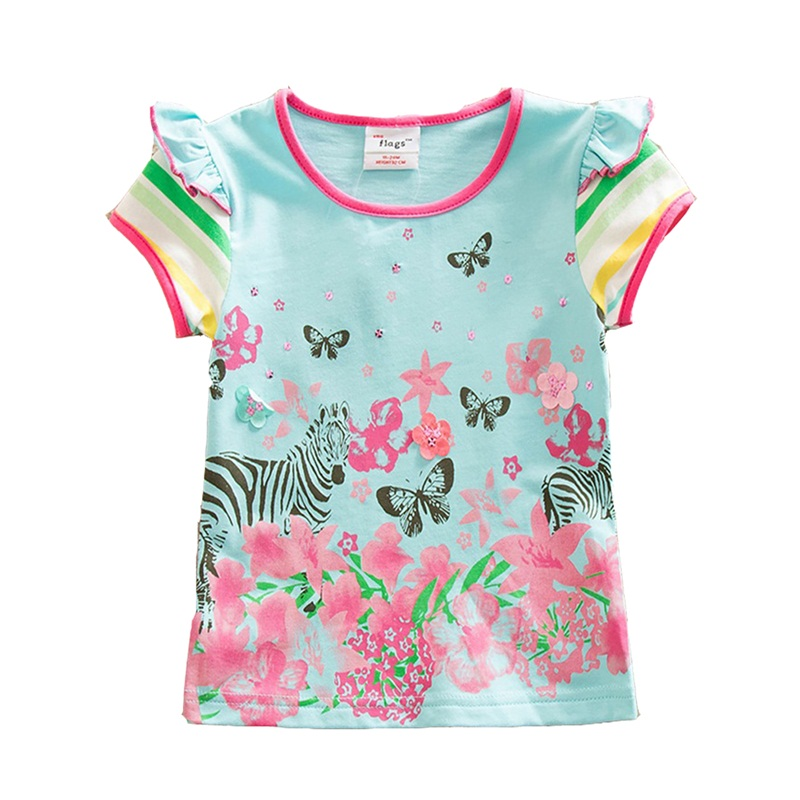 Kids Flower T Shirt Baby Girls T Shirt Floral Cartoon Butterfly Tops Summer Clothes Cute Children Girls Short Sleeve Tees