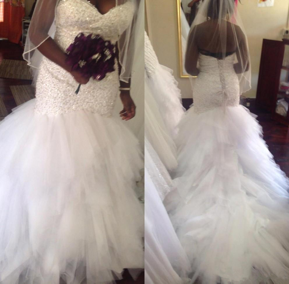 2019 African Plus Size Mermaid Wedding Dresses Lace Appliques Beadding Sweetheart Corset Tiered Tulle Long train Bridal Gowns