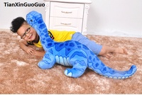 large 95cm sky blue Brachiosaurus dinosaur plush toy soft doll throw pillow birthday gift s0131