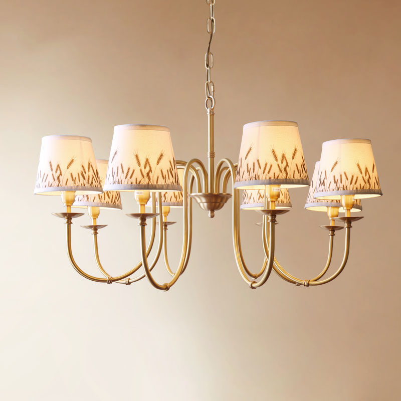 Lights & Lighting Modern Wheat Cloth Chandelier 3/6/8 Art Lampshade Led Lamp Chandeliers Home Lighting Bedroom Dining Room Hotel Simple Lamp F135