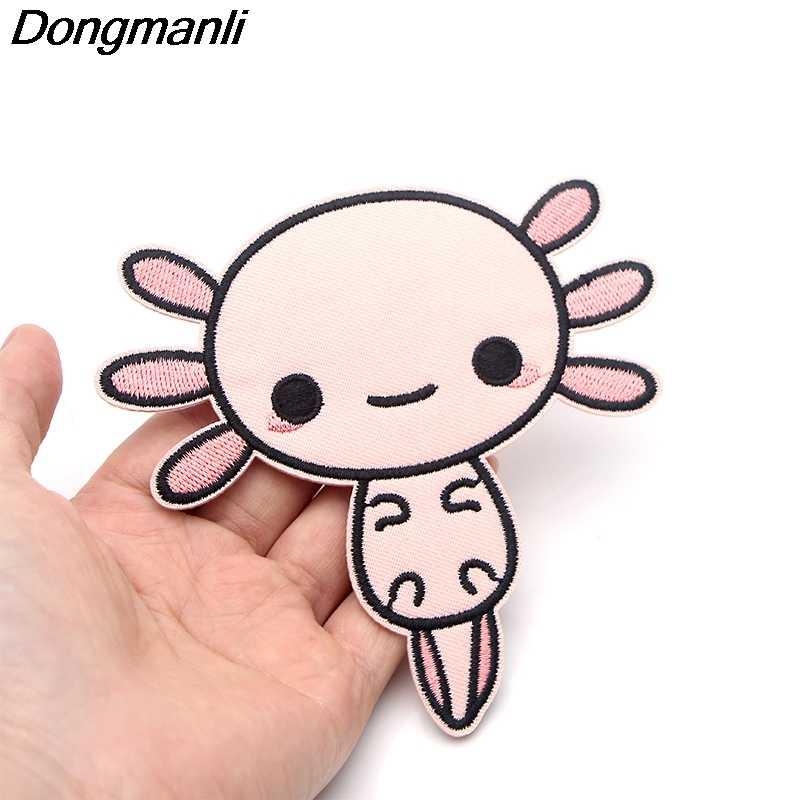 P3826 Dongmanli Axolotl haftowane Anime Sew naprasowywane aplikacje odznaka na ubrania T-shirt plecak