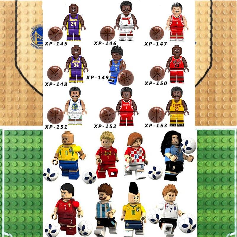 Legoinglys jogador de futebol basquete figuras kobe bryant curry odel beckham ronaldo blocos de construção tijolo brinquedo presentes