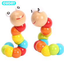 Фотография CUDNY Colorful Insects Puzzles Kids Educational Wooden Toys Baby Children Fingers Flexible Training Science Twisting Worm Toys