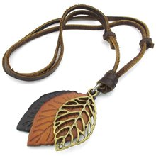 Jewelry Men s Ladies Necklace Leaf Adjustable Sizes Alloy Pendant with Leather Necklace