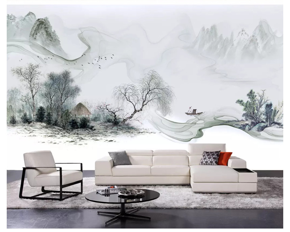 beibehang Classic modern personality fashion wall paper luxury atmosphere ink landscape new Chinese TV sofa background wallpaper in Wallpapers from Home Improvement