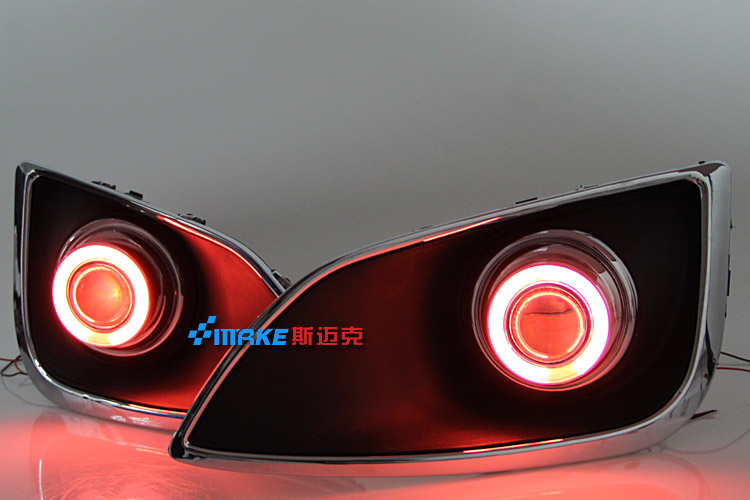 Free shipping ! new innovative ccfl angel eye fog light bumper projector lens led drl daytime running