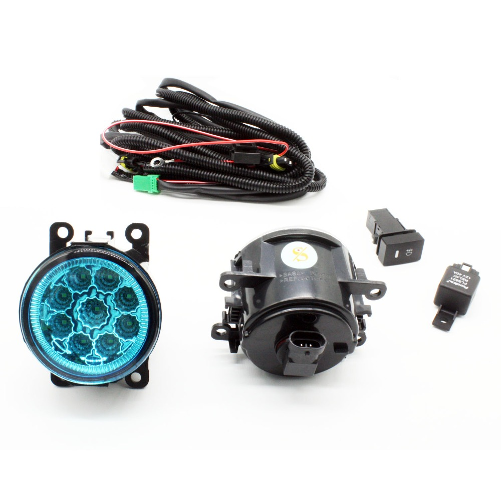 H11 Wiring Harness Sockets Wire Connector Switch + 2 Fog Lights DRL Front Bumper LED Lamp Blue Lens For Nissan Sentra 2007-2012 for renault logan saloon ls h11 wiring harness sockets wire connector switch 2 fog lights drl front bumper 5d lens led lamp