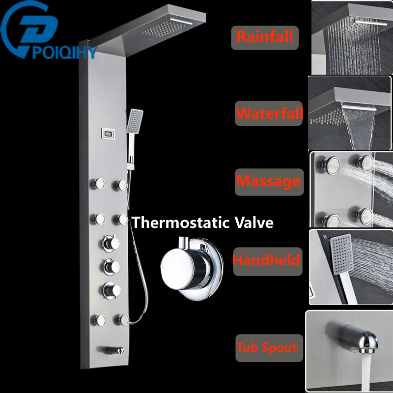 Thermostatic Triple Shower Panel Handles Bathroom Faucet Wall Mounted Shower Faucets with Tub Filler Mixer tap