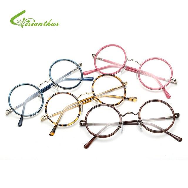 5115a0fa576a Women/Men Vintage Glasses Frame Plain Mirror Big Round Metal Optical Frame  for Girl Eyeglass