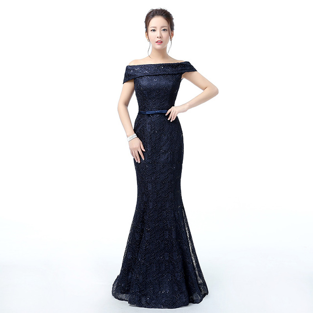 WB550 Navy Blue Evening Gowns Robe De Soiree Longue Women Party ...