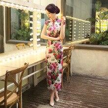 มาใหม่สตรีผ้าไหมยาวCheongsamจีนแฟชั่นสไตล์การแต่งกายที่สวยงามบางQipaoรสเสื้อผ้าขนาดSml XL XXL F072003