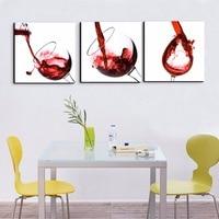 Moderna di Arte Della Tela 3 pezzo Tazze bicchiere di vino Rosso Poster HD Stampe Decorazioni Per La Casa Pictures Parete per Soggiorno Ristorante incorniciato