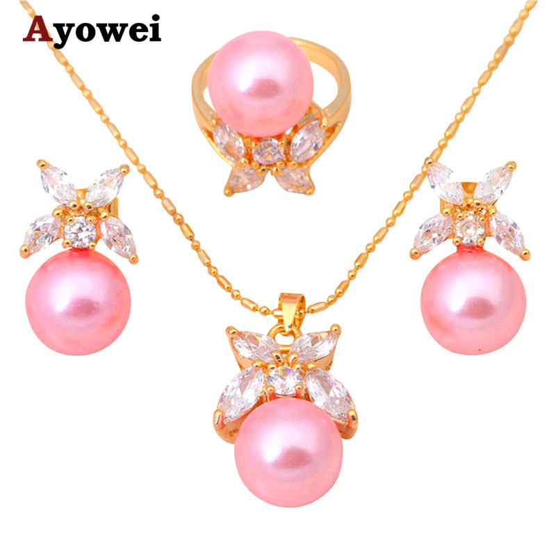 Round Sets gold tone ZirconPink Pearl Crystal Jewelry Sets Earrings Necklace  Pendants Rings Fashion Jewelry JS024A fec533aa7f4d