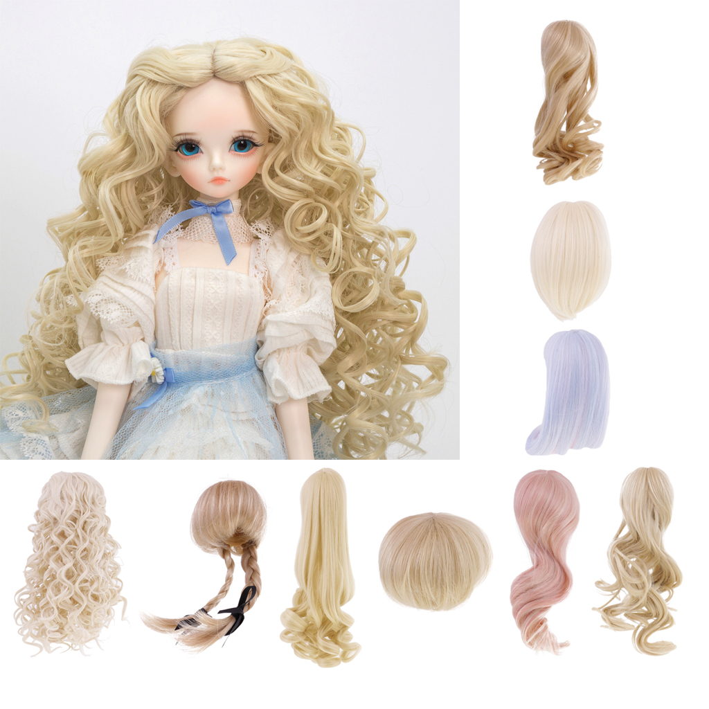Dolls Wavy Curly Hair Wig for 1/4 BJD SD AOD DZ LUTS Dollfie Doll Party Dress Up DIY Making Supply Curly Hair Dolls Accessories new 1 3 22 23cm 1 4 18 18 5cm bjd sd dod luts dollfie doll orange black short handsome wig