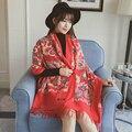 Китайская Национальная Ветер Шарфы Новый Стиль Осень-Зима Женская Мода Шарф Вышивка Кисточки Шаль Кешью Цветы Шарф Кашемира