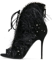 Sexy Black Feather Women Boots 2018 Peep Toe Lace-up Crystal Embellished Women Ankle Boots High Heels Cut-out V-style Bootie faux feather embellished solid tee