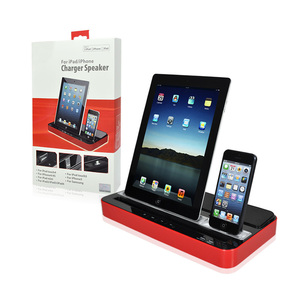 ipega multi functional charger dock station stand stereo speaker for iphone 4 4s 5s 6 ipad 2 3. Black Bedroom Furniture Sets. Home Design Ideas