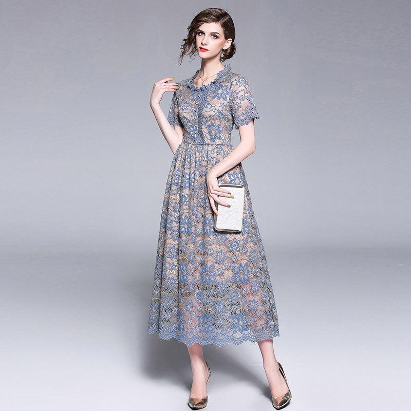Bonnie Thea 2018 women Vintage lace Print summer long dress femal Holiday beach dress lady party maxi dresses