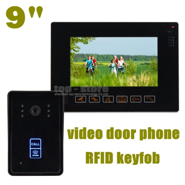 DIYSEUCR 9 Inch Compatible CCTV Video Door Phone Intercom Doorbell Home Security Touch Camera Monitor 125KHz RFID Keyfobs